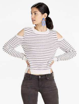 Lucky Brand STRIPE COLD SHOULDER PULLOVER