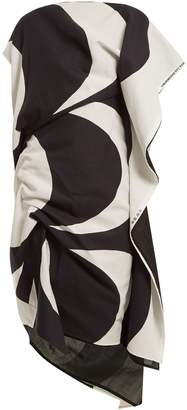 Junya Watanabe Kaivo-print asymmetric draped cotton-blend dress