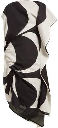 Junya Watanabe Kaivo-print asymmetric draped cotton-blend dress