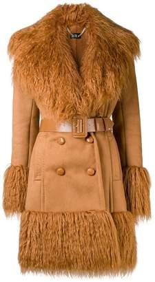 Elisabetta Franchi shaggy trimmed trench coat