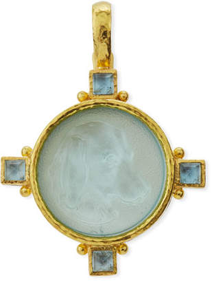 Elizabeth Locke Hound Head Antique 19k Gold Intaglio Pendant, Light Aqua