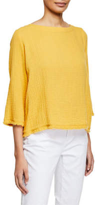 Eileen Fisher Bateau-Neck 3/4-Sleeve Organic Cotton Gauze Top, Petite