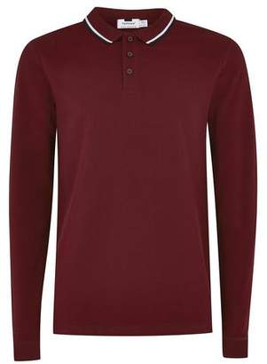 Topman Mens Red Burgundy Muscle Fit Polo