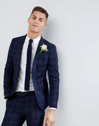 Moss Bros Skinny Wedding Suit Jacket In Navy Check