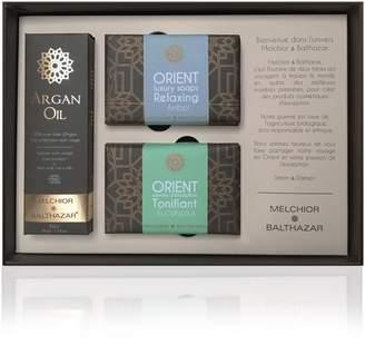 Melchior & Balthazar - Exception Gift Box (50ml Argan Oil, Tonifying Eucalyptus & Relaxing Amber Creamy Soaps)