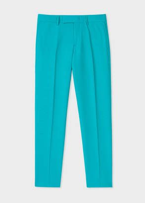 Paul Smith Men's Slim-Fit Turquoise Hopsack Wool Pants