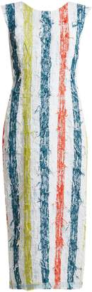 CARL KAPP Multistripe round-neck tweed dress