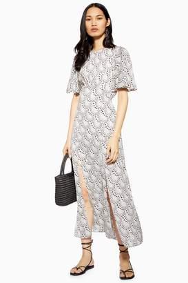 Topshop Womens Austin Star Print Angel Sleeve Midi Dress - Ivory