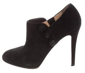 Christian Louboutin Suede Semi Pointed-Toe Booties