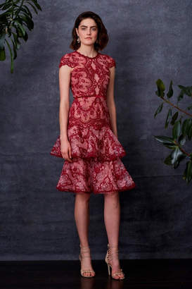 Marchesa Cap Sleeve Dress