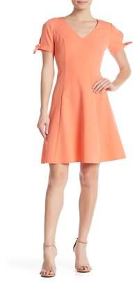 London Times V-Neck Fit & Flare Dress