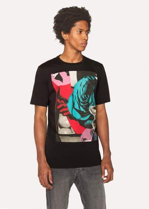 Paul Smith Men's Black 'Rose Collage' Print Cotton T-Shirt