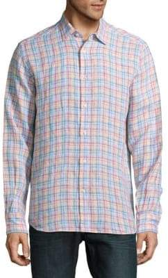 Saks Fifth Avenue Casual Gingham Linen Shirt