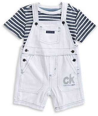 Calvin Klein Baby Boy's Striped Tee and Cotton Shortall Set