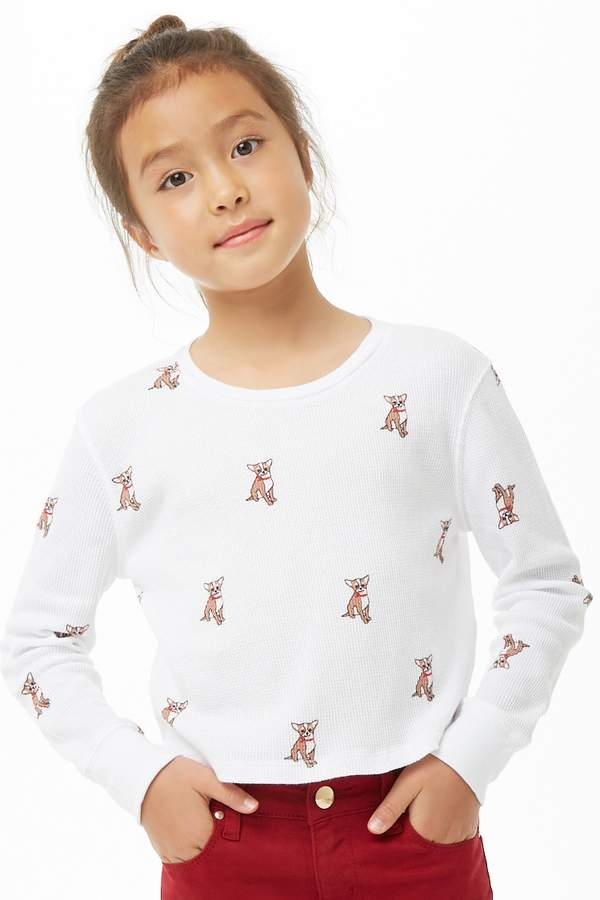 Forever 21 Girls Smiling Dog Print Top (Kids)
