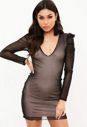 Missguided Black Mesh Plunge Mini Dress f3faf4d11