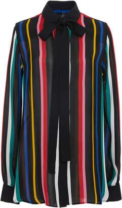 Elie Saab Striped Silk Bow Neck Blouse