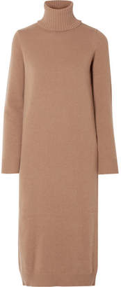 Max Mara Wool And Cashmere-blend Turtleneck Midi Dress - Camel