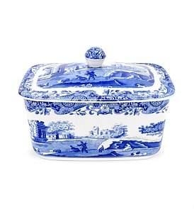 Spode Blue Italian Butter Box