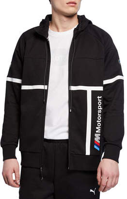 Puma Men's BMW MMS Striped Logo Hooded Sweat Jacket, Black