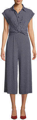 Neiman Marcus Polka-Dot Twist-Front Collared Jumpsuit