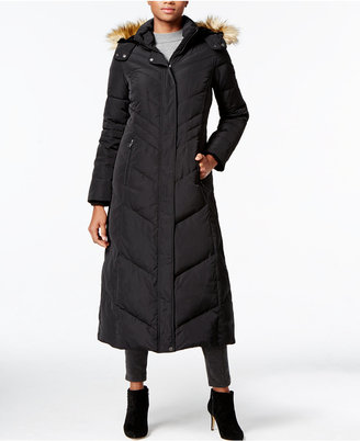 Jones New York Faux-Fur-Trim Hooded Down Maxi Coat $400 thestylecure.com