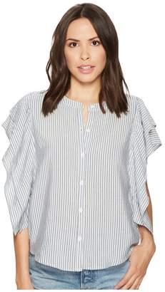 Splendid Paradise Cove Indigo Stripe Ruffle Short Sleeve Top Women's Clothing