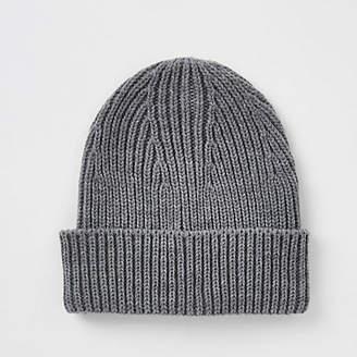 River Island Dark grey fisherman beanie hat