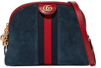 Gucci Ophidia Patent Leather-trimmed Suede Shoulder Bag - Blue