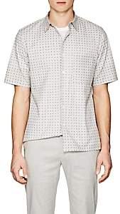 Theory MEN'S BRUNER SQUARED-DOT-PRINT STRETCH-COTTON SHIRT-SAND SIZE XS