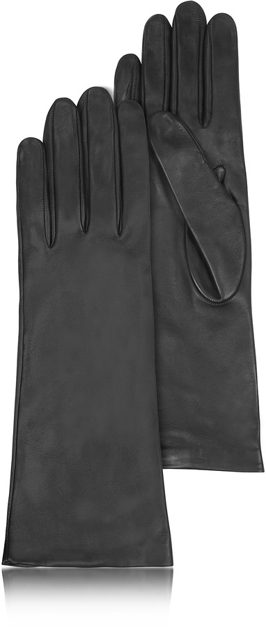 Forzieri Women's Silk Lined Black Italian Leather Long Gloves
