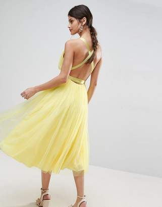 Asos DESIGN PREMIUM Tulle Midi Prom Dress With Ribbon Ties