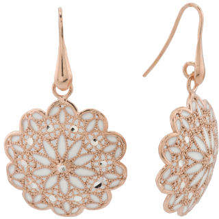 Made In Italy Rose Gold Plated Silver And Enamel Mandala Earrings