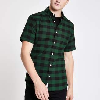 River Island Mens Green check muscle fit short sleeve shirt