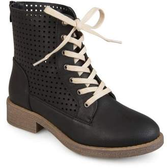 Co Brinley Collection Brinley Womens Faux Leather Laser-cut Lace-up Boots