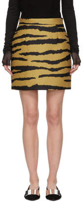 Proenza Schouler Tan and Black Tiger Jacquard Miniskirt