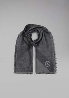 Giorgio Armani Silk And Wool Scarf With Jacquard Pattern