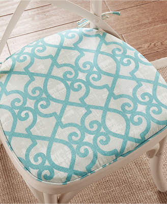 Madison Park Daven Fretwork Weather-Resistant Indoor/Outdoor Chair Pad Pair with 3M Scotchgard