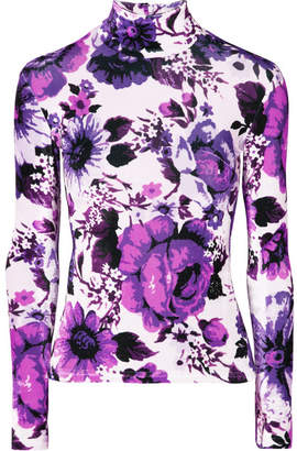 Richard Quinn - Floral-print Velvet Turtleneck Top - Purple