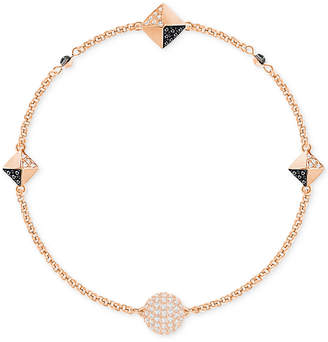 Swarovski Remix Collection Rose Gold-Tone Crystal Fireball and Pave Pyramid Chain Bracelet