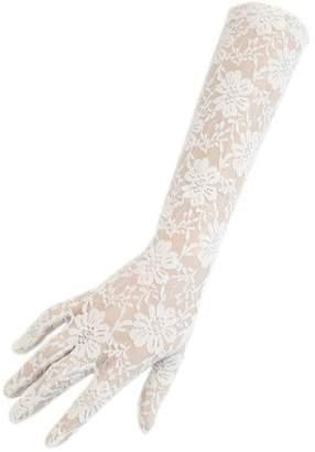 Black Long Ivory Fine Lace Gloves