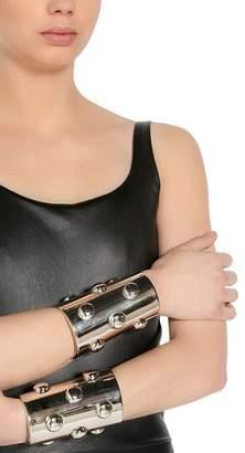 Krizia Studded Metallic Cuff Bracelets