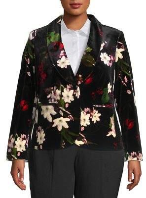 Calvin Klein Floral Button Front Blazer