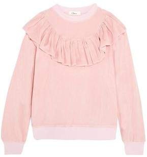 Clu Ruffled Cotton-Blend Velvet Sweatshirt
