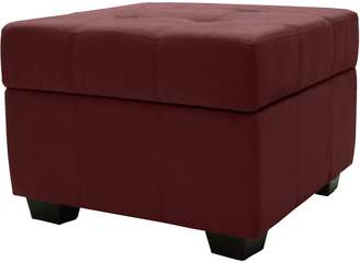 Epic Furnishings Microfiber Suede Upholstered Tufted Padded Hinged Square Storage Ottoman Bench
