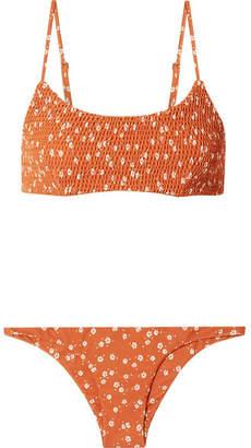 Faithfull The Brand Lindsay And Luna Shirred Floral-print Bikini - Orange