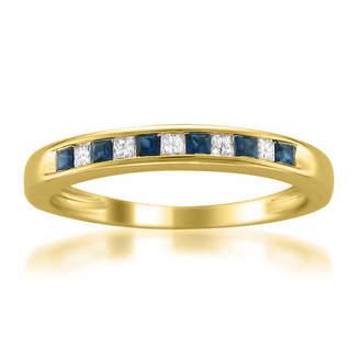 MODERN BRIDE Modern Bride Gemstone Womens 2.5 Mm 1/10 CT. T.W. Blue Sapphire 14K Gold Wedding Band