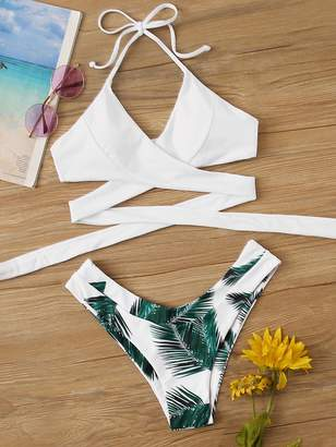 Shein Wrap Halter Top With Palm Print Bikini Set