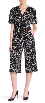 London Times Patterned V-Neck Cropped Jumpsuit (Petite)