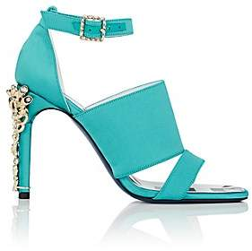 Koche KOCHE WOMEN'S JEWELED-HEEL SATIN SANDALS - TURQUOISE SIZE 8